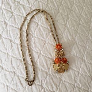 Vintage flower necklace with rhinestones